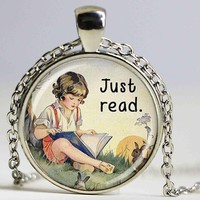Just read book necklace/keychain
