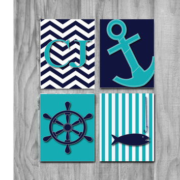 Nautical Art, Nursery Art, SALE- Children Art Print Set Nautical, boys room, blue,  Boys Decor - Nursery or Toddler Room Print Set