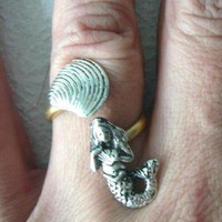 Silver mermaid ring from stavri