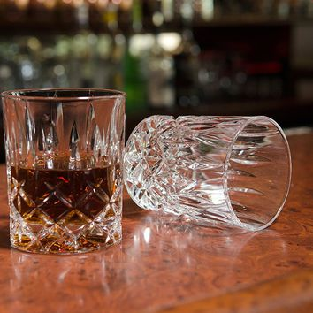 Crystal Fashioned Whiskey Scotch Glasses Excellent For Cocktail Large 10 oz Wine Whisky Enthusiasts Glassware Diamond Design Set of 2