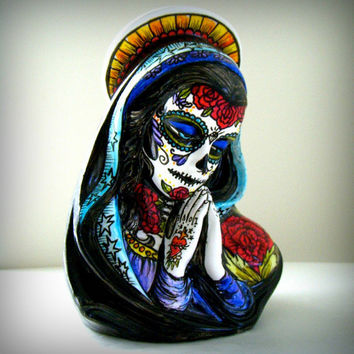 Ceramic Planter Day of the Dead Sugar Skull Tattooed Mary Madonna Vase Hand Painted Sacred Heart Mexican Folk Art Dia De Los Muertos