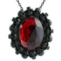 Human Skull Wreath w/ Red Stone Necklace Gothic Victorian Jewelry Pendant