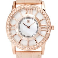 River Island Diamante Leather Watch