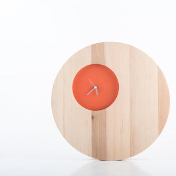 Wall Clock Double Circle Coral edition natural solid wood with a small face to appreciate beauty of wood (time is irrelevant)