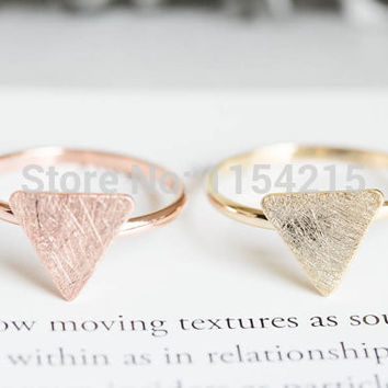 2016 New Fashion Gold silver rose gold triangle plate rings knuckle ring stretch rings men ring in brass EY-R208