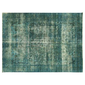 Pre-owned Irani Persian Blue Overdyed  Wool Rug - 10'X13'