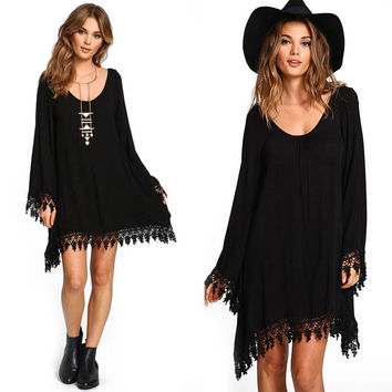 Plus Size Long Sleeve Tassel Black Short Dress