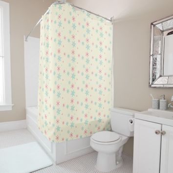 Pink And Blue Snowflake Pattern Christmas Wintery Shower Curtain