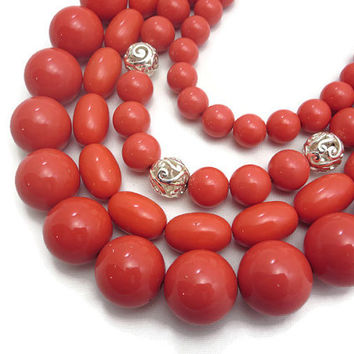 Joan Rivers Necklace - Huge Bib Necklace, Coral Lucite, Filigree Beads, Costume Jewelry