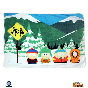 "45""x60"" OFFICIAL South Park ORIGINAL Warm Fleece Throw Wall Hanging Tapestry Blanket with Stan, Kyle, Cartman and Kenny"