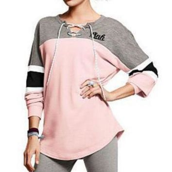 Victoria S Secret Pink Print Women Fashion Hooded Sweatshirt Lace Up Long Sleeve Top-1