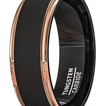 CERTIFIED 8mm Men's Wedding Band Two Tone Black Brushed Tungsten Ring Rose Gold Step Edge Comfort Fit