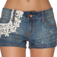 (DT8190) Dollhouse Premium Juniors Crochet Overlay Denim Shorts in Dovetail Size: 13
