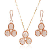 1 SET Rose gold earrings and necklace pearl earrings pendant jewelry