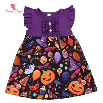 Kaiya Angel Girls Dress Halloween 2017 Girls Clothes Baby Girl Fashion Halloween Pumpkin Dress Purple Orange Princess Dress