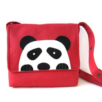 PandaFelt Messenger Bag by renklitasarimlar on Etsy