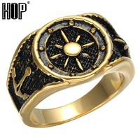 HIP Punk Vintage Compass Anchor Rings Black Gold Color Titanium Stainless Steel Ring for Men Viking Jewelry
