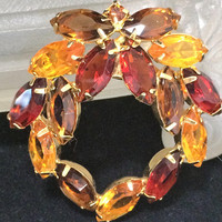 Multicolor Rhinestone Wreath Brooch Pin Gold Tone Setting Amber Topaz Transparent Faceted Glass Stones  Mid Century Jewelry 618m