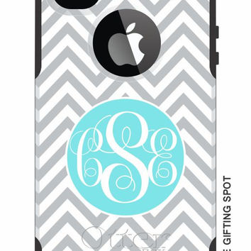 Monogrammed OtterBox Commuter Personalized Phone Case - iPhone 4/4S, iPhone 5/5S, iPhone 5C - Skinny Chevron Pattern