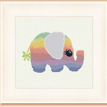 Elephant rainbow I  -  PDF Cross Stitch Pattern - INSTANT DOWNLOAD