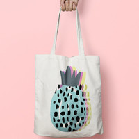 Pineapple Tote Bag - Canvas Tote Bag Pine Apple - Printed Tote Bag - Market Bag - Cotton Tote Bag - Large Canvas Tote - Funny Quote Bag