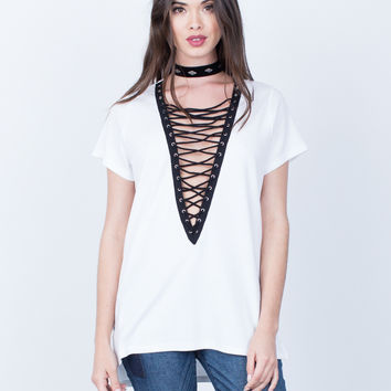 Lace-Up Knit Tee