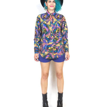 80s GECKO Southwestern Colorful Print Shirt Western Cotton Long Sleeve Button Down Psychedelic Top (S/M/L)