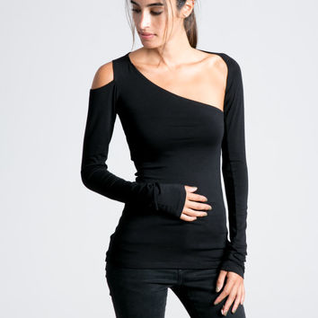 231594b83c2671 Black Top   Marcellamoda   Party Tank Top with Long Sleeves   Sexy Shirt    Party