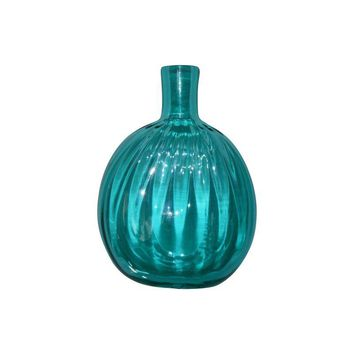Pre-owned Petite Blown Glass Blue Bud Vase
