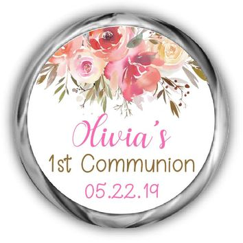 Floral Communion Hershey Kisses Stickers