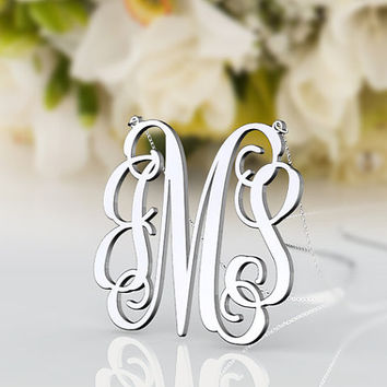 Jewelry 925 sterling silver monogram necklace--1.25 inch personalized monogram jewelry customized