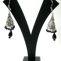 Womans Earrings Bollywood Oxidized Silver Black Beads Ethnic Tribal Jewelry, Gift Idea