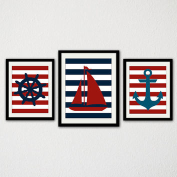 Nautical Nursery Print Set. Boat. Anchor. Ships Wheel. Stripes. Blue And