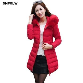 SMFOLW Long Women's Winter Jacket Women Parkas 2017 Female Faux Fur Collar Hooded Cotton Warm Coat For Women Anorak Manteau
