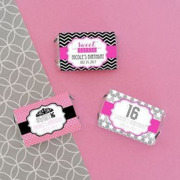 Personalized Sweet 16 or 15 Mini Candy Bar Wrappers