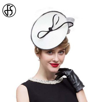 FS White Linen Ladies Wedding Hats Summer Elegant Bowknot Pillbox Hat For Women Vintage Kentucky Derby Formal Church Cap
