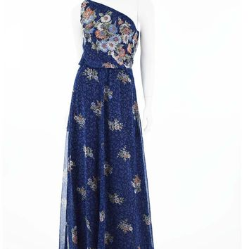 70s One Shoulder Floral Border Print Chiffon Maxi Dress-S
