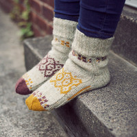 "Autumn mosaic"" Natural colours hand knit wool socks. Handmade to order. Unisex adults"
