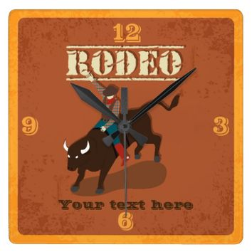 Macho Man Texan Rodeo Bull Bucking Bronco Mancave Square Wall Clock