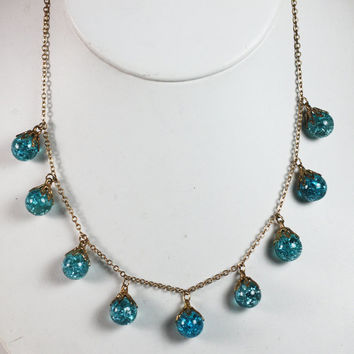 Crackle Glass Necklace Turquoise Beads Dangles Vintage