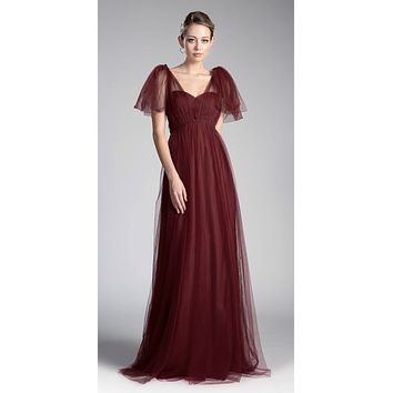 Tulle Infinity Style Long Bridesmaid Dress Deep Red