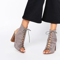 Missguided Ghillie Shoe Boot With Block Heel