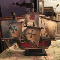 Vintage Santa Maria Model Ship, Columbus Flagship, Wood Ship Model, 9 inch ship model, Ship Replica, Columbus 1492 Voyage