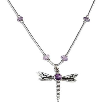 """Sterling Silver 16-18"""" Adjustable Liquid Silver And Amethyst Dragonfly Necklace"""