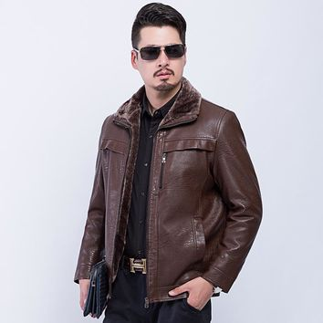 Thick Warm Winter Leather Coat Men Slim Coat Jacket Outwear