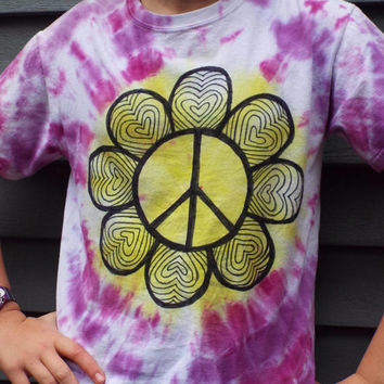 Girls Peace Sign Flower Shirt, Custom Tie Dye Shirt for Girls w Peace Sign, Tie Dye Peace Sign Shirt, Girls Heart Shirt, Flower Child Hippie
