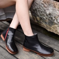 Original 2017 New Autumn and Winter Retro Flat Ankle Boots Genuine Leather Manual Soft All-atch Women Boots 9703-1