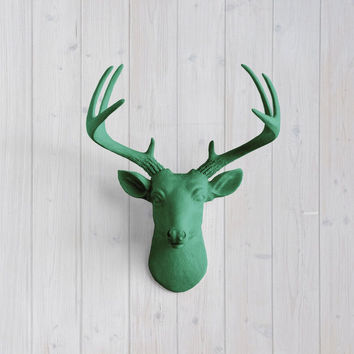 The MINI Virginia Seafoam Green Faux Taxidermy Resin Deer Head Wall Mount | Seafoam Green Stag w/ Colored Antlers