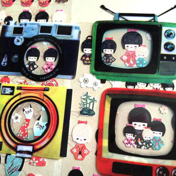 vintage TV camera sticker retro clock watch appliances frame sticker cute frame picture frame sticker mini photo decor phone case sticker
