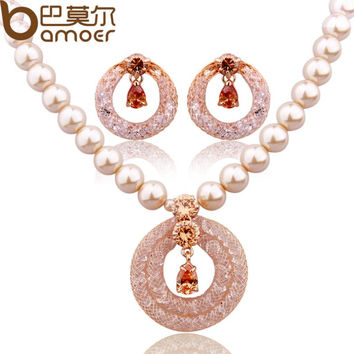 BAMOER Luxury Anniversary Pearl Jewelry Sets For Women Champagne Gold Color Zircon Crystal Necklace + Earrings